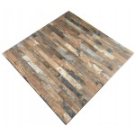 700mm, Compact Laminate, Square, Rustic Block Wood
