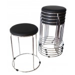 """Barrel stool with Chrome base 470mm seat height """"Black"""""""